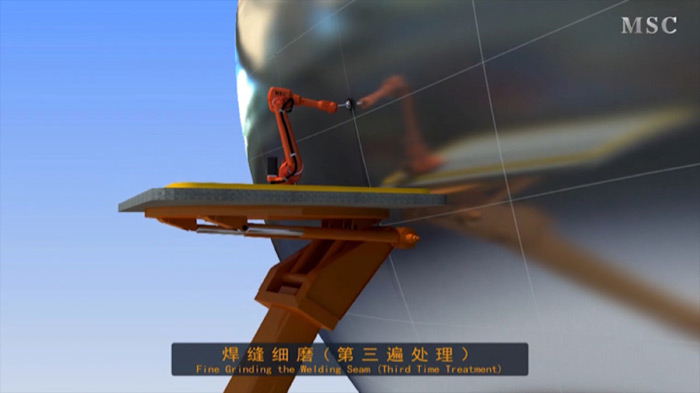 A rendered robot fine grinds a welding seam on the Dolphin, within the MOCAPE, currently under construction in Shenzhen