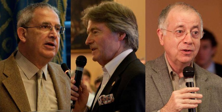 Representatives of the three strands of wine criticism that could be woven more closely together: (from left) professional critics Michel Bettane and Steven Spurrier;