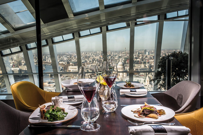 The Fenchurch seafood bar and grill at the very top of the building
