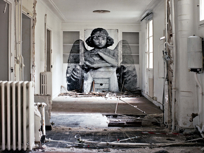 French artist YZ created a series of monotone murals, titled Angels of Destruction. She could only work for three hours at a time, affected by unheated rooms and the melancholy induced by her angels