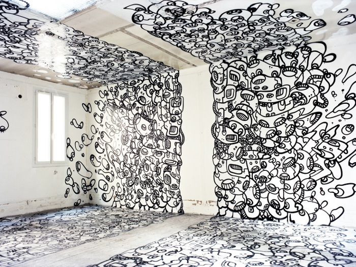 Writing – or doodling – on the wall, ceilings and floors, courtesy of Le Module Du Zeer