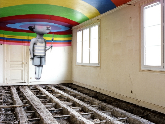 Seth, aka Julien Malland. Inserted a colourful if slightly ghostly figure above the ripped-up floors of the abandoned venue