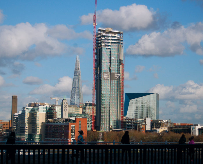 The South Bank Tower, here under construction, reaches 151m above street level. The Oxo Tower and Sea Containers House are to the left, with The Shard behind. Photo Credit: Herbert Wright
