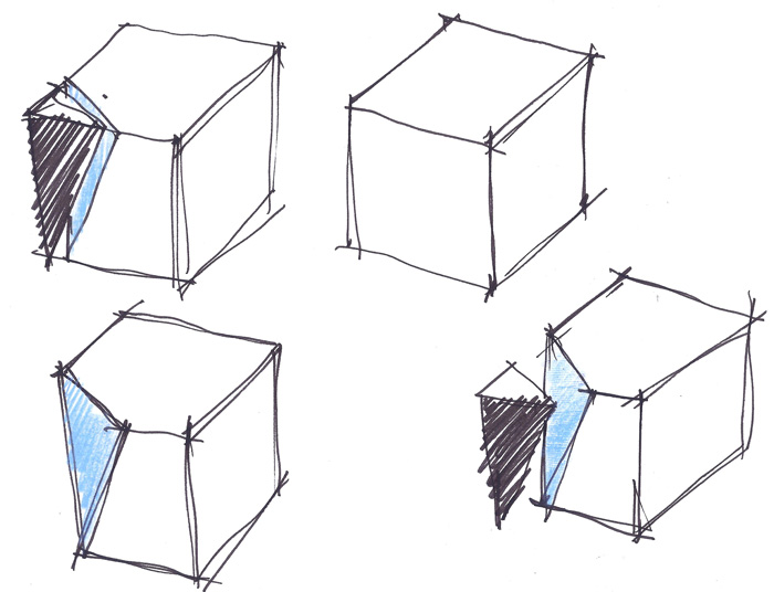 Arruda's sketches illustrate the concept of cutting a cubical volume with a triangular window.