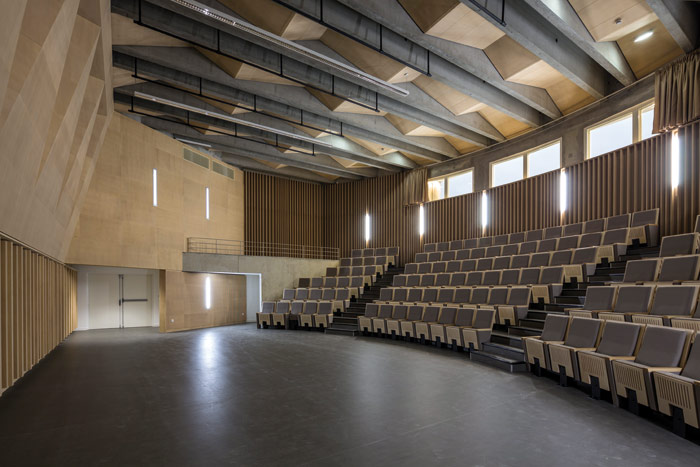 The Amphitheatre, with a capacity for 120, is also lined, and acoustically engineered, with wood.