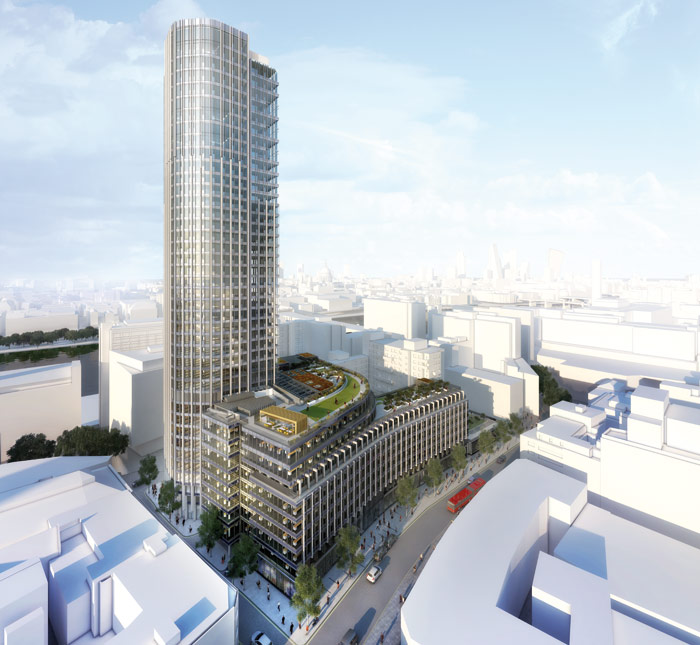 A rendering shows the South Bank Tower and podium including its arc of new office floors. Its roof is a residents' garden with pavilion. Photo Credit: Kohn Pedersen Fox Associates
