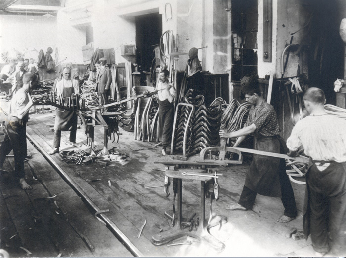 Steam wood bending at the Thonet factory in the 19th century. Same design but in the hands of a present day furniture maker