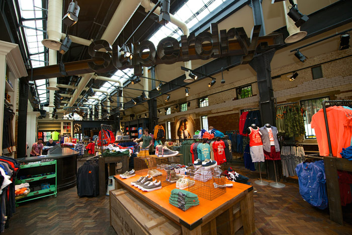 Inside the Superdry store, Islington, one of a group of wholly owned or franchised outlets in 100 territories