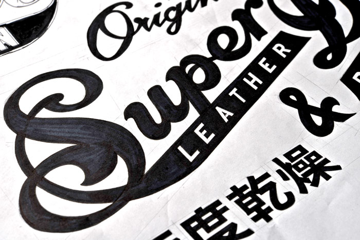 Graphic artwork ready for a Superdry garment