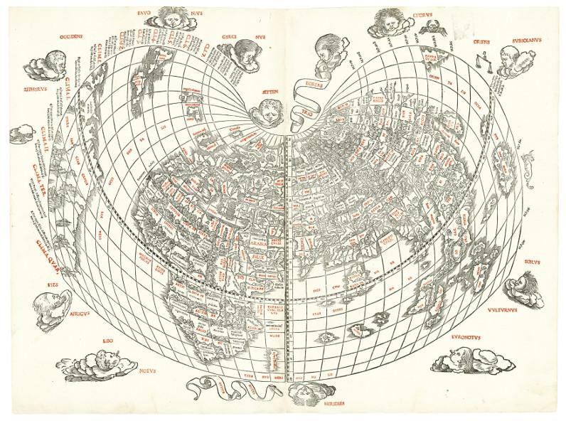 First western map to show Japan – Sylvanus' cordiform world map