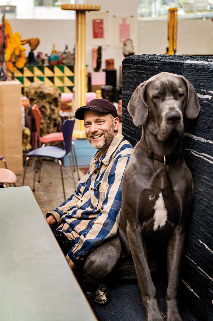 The artist Tal R... and his Great Dane, Fanny. Photo: G Hos