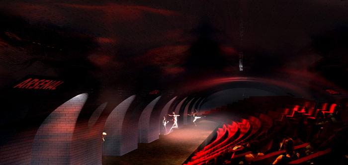 Plans for abandoned Paris Métro stations from Laisné Architect and Oxo Architectes include a theatre.