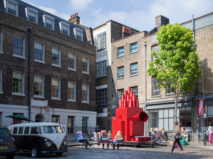 The Tiny Travelling Theatre toured sites in Clerkenwell for the Design Week 2012. Photo Credit: Simon Kennedy