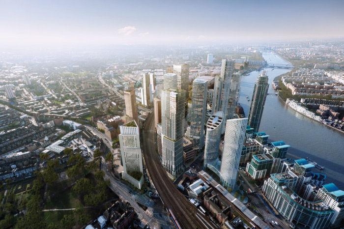 Among the individual buildings that prominent practices have been commissioned to design for the Nine Elms development is the rectangular Bondway tower (pictured centre left), by KPF