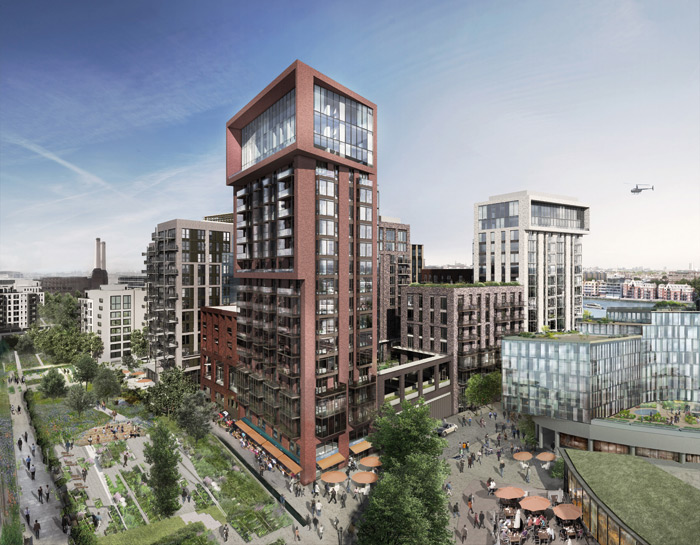 Embassy Gardens is planned to be a mix of high-end apartments, shops restaurants and offices