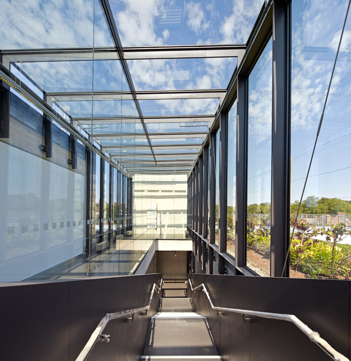 Transparent walkways and scenic circulation routes link the roof gardens, administration and seminar spaces on the top level. Photo Credit: Hufton + Crow