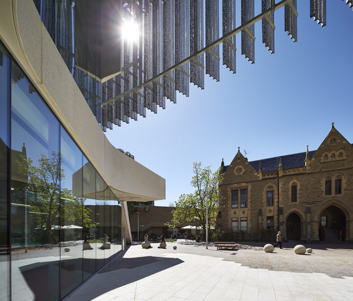 The building opens on to a north-facing courtyard on the Parkville Campus