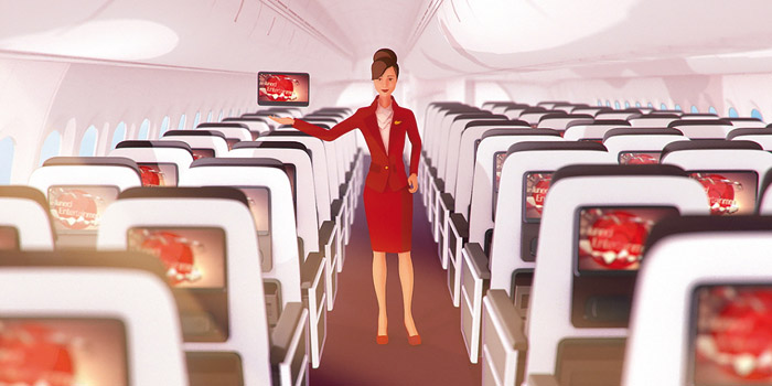 Animations for Virgin Atlantic show customers how to use its on-board entertainment system. Photo: Territory Studio Ltd