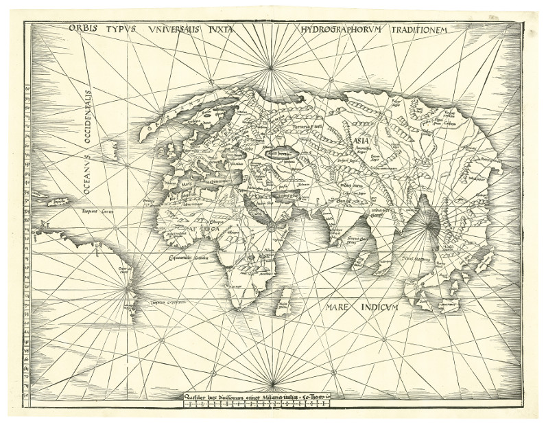 First map to show the New World – Waldseemüller's modern world map