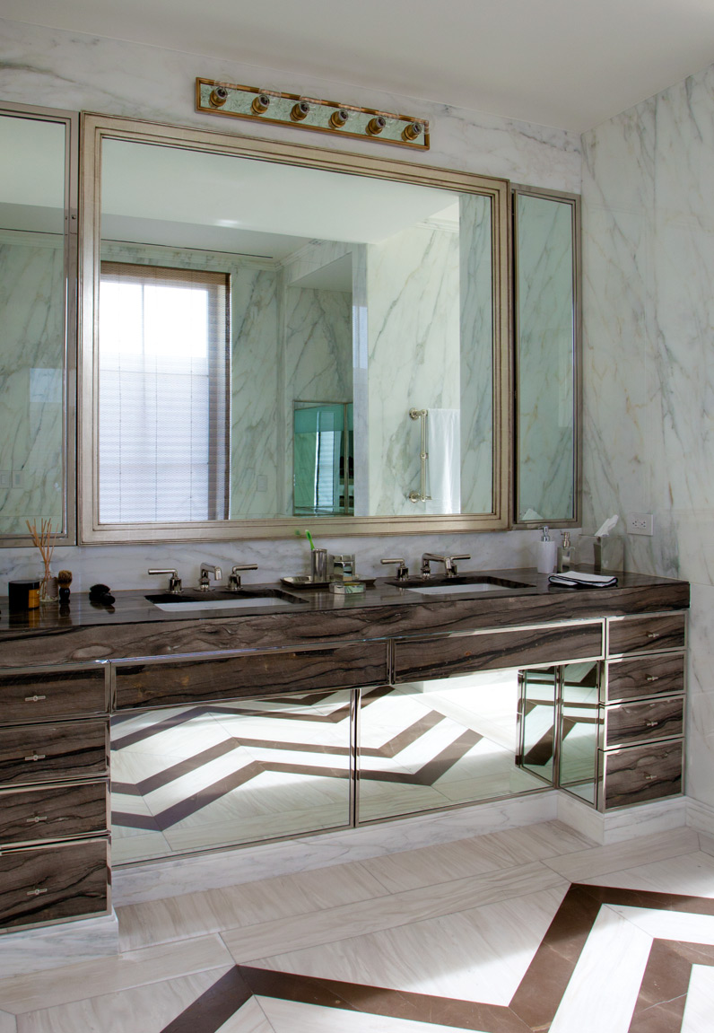 Custom marble and timber detailing in the bathroom; Photography by Tim Street Porter