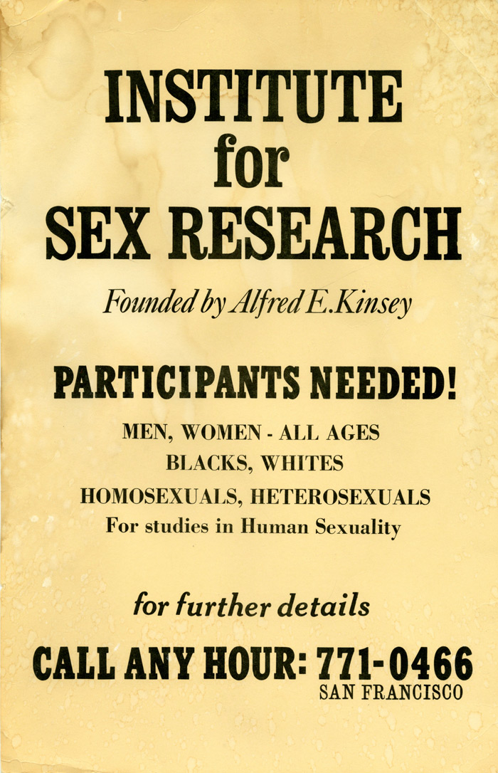 Poster from the Kinsey Institute for Research in Sex, Gender and Reproduction, on show in The Institute of Sexology