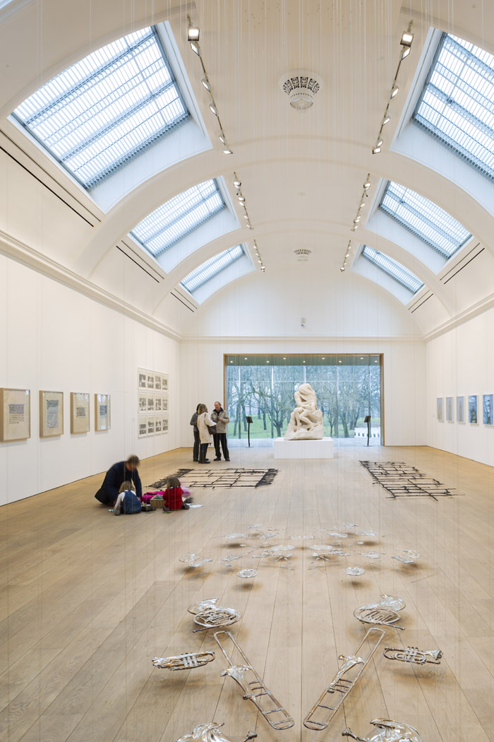 The park is now seen from the central exhibition gallery, here with works by Cornelia Parker