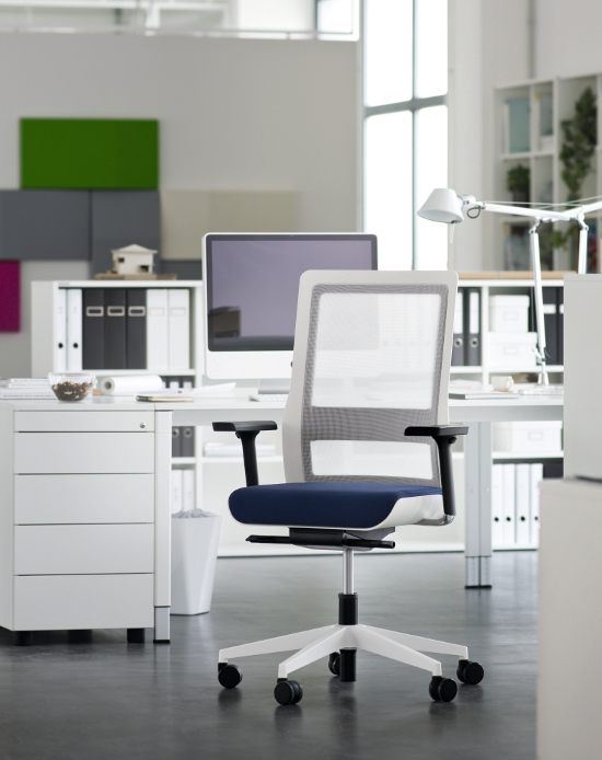 Wiesner-Hager's POI swivel chair combines eye-catching design with extraordinary ease of use and superb sitting comfort. Embracing the human form and individuality, POI brings emotion into the functional office world and creates a vivid, inspiring environment. The characteristic feature of POI is its striking monocoque design. The shell conveys feelings of security and protection; the soft core is inviting and comfortable. The ergonomic back frame in black or white can be covered in a choice from four semi-transparent mesh colours, and myriad upholstery options for the removable seat set and colour accents make POI versatile: specifiers have unlimited scope to create just the right look – elegant and sophisticated, or young and fresh. POI guarantees outstanding sitting comfort and ergonomic functionality, as it can be precisely adapted to each user's weight and height. The intuitively positioned tension control enables quick, easy adjustment of the chair in just two turns to suit any user. The state-of-theart synchronised mechanism guarantees a finely coordinated movement of seat and back so that the user sits dynamically and ergonomically in any position. The seat slides at the touch of a button to adjust the seat depth. This, together with the height-adjustable lumbar support, infinitely variable seat height and multidimensional armrests mean the chair can be perfectly adapted to the user's height. It all adds up to make POI represent a completely new generation of swivel chairs.  The judges said: 'Distinctive looking, well engineered' 'It gives workplaces a unified look'