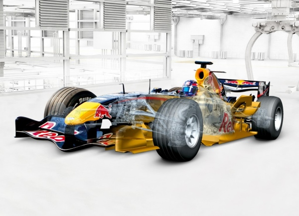 Yellow formula 1 car design