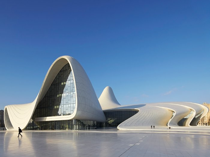 The centre is entered from the south-west side, which includes the Heydar Aliyev Museum