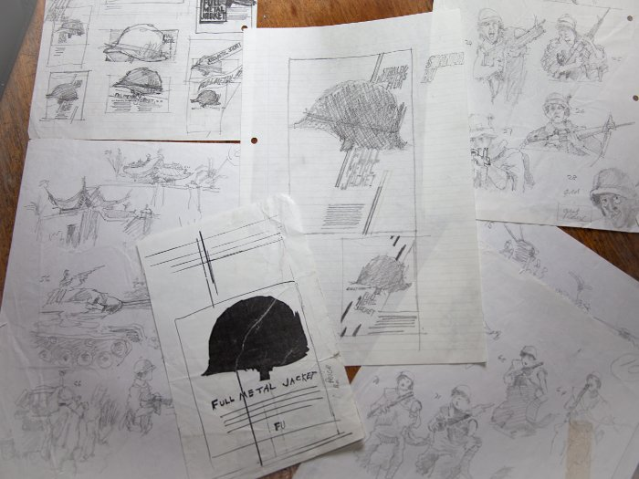 Early pencil sketches for the poster design for Full Metal Jacket, Photography Steve Mepsted