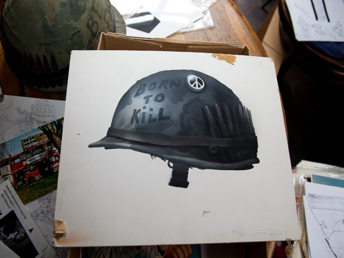 Castle's artwork final of the FMJ Born to Kill helmet, with its peace badge photography Steve Mepsted