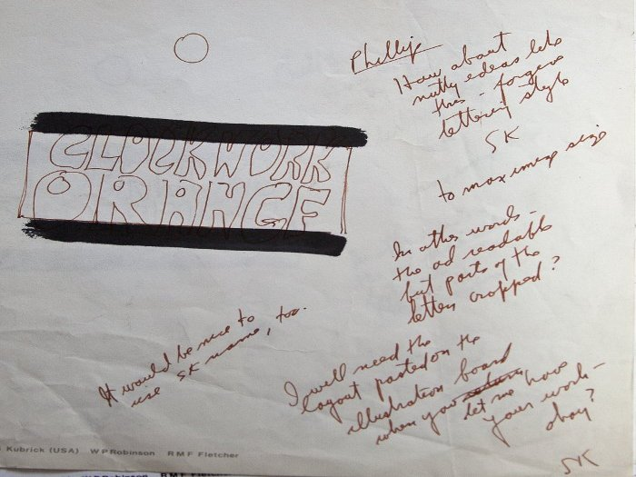 A handwritten note from Kubrick, talking about lettering and 'nutty ideas' Photography Steve Mepsted