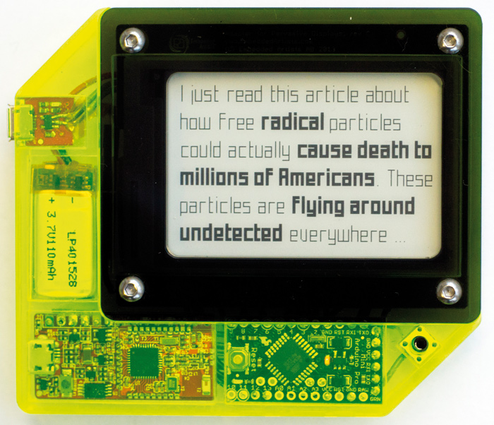 Superflux designed a wearable badge that flags up potentially 'alarming' words in emails and internet pages