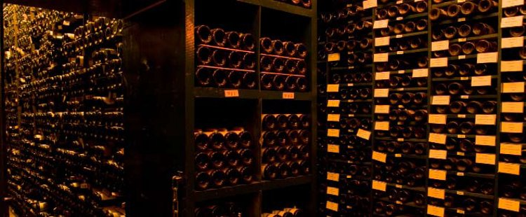 Some of the 450,000 bottles in the cool, damp cellars of La Tour d'Argent, of which only 4 percent was for sale at the auction in Paris in December 2009