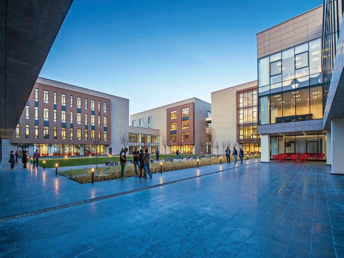 The recently completed Ayhan Sahenk Faculty of Agricultural Sciences and Technologies. The courtyard has become a social gathering place for students