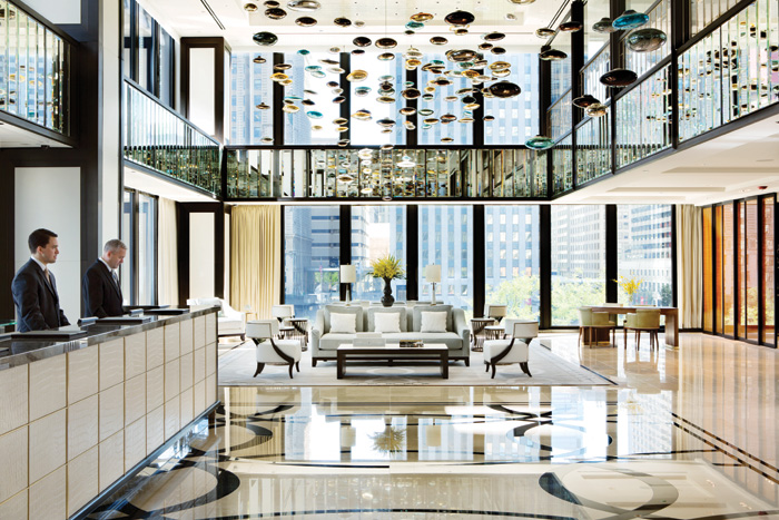The new Richmond International reception lobby at the Langham: 'Not very Mies,' says Lohan