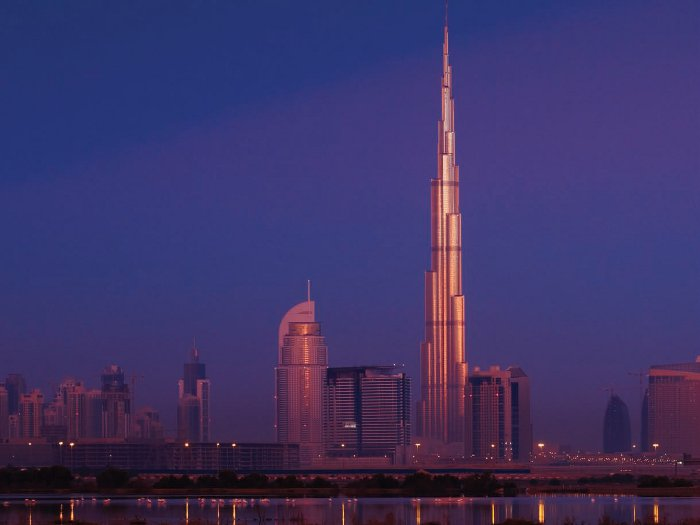 Dubai skyline: Burj Khalifa is the very tall, skinny one