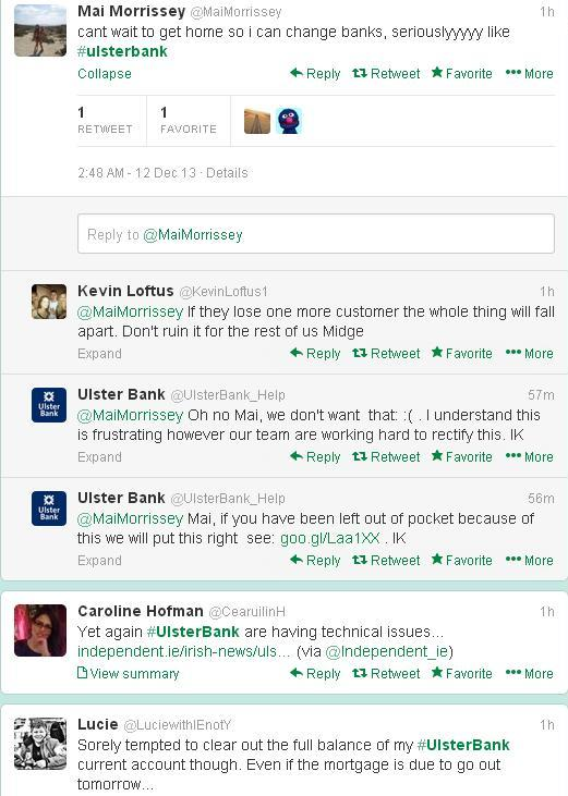 Twitter users complained to Ulster Bank