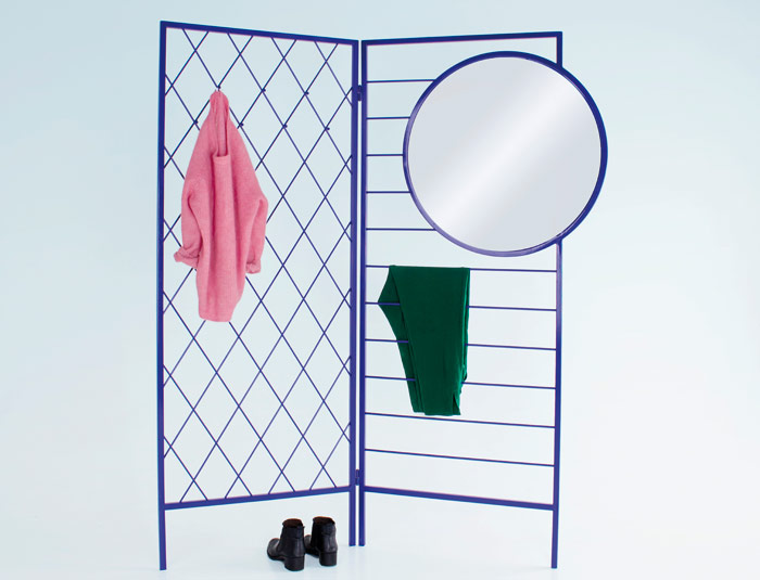 Vera & Kyte's Apparel wardrobe/room divider is made in blue, lacquered steel. Phto Credit: Grandpeople Portrait Martin Ramstad Rygner