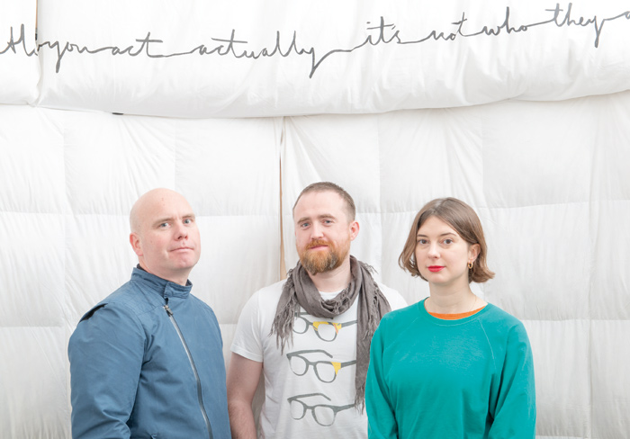 (l-r) Atomik Architecture's Mike Oades and Derek Draper, and artist Alice Theobald, who collaborated to create the BALTIC installation