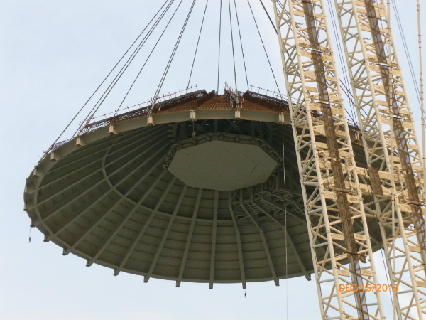 Installation of the Conical Rooft at Haiyang 1 Westinghouse AP1000 in China on 15 December 2013 (Copyright Westinghouse)