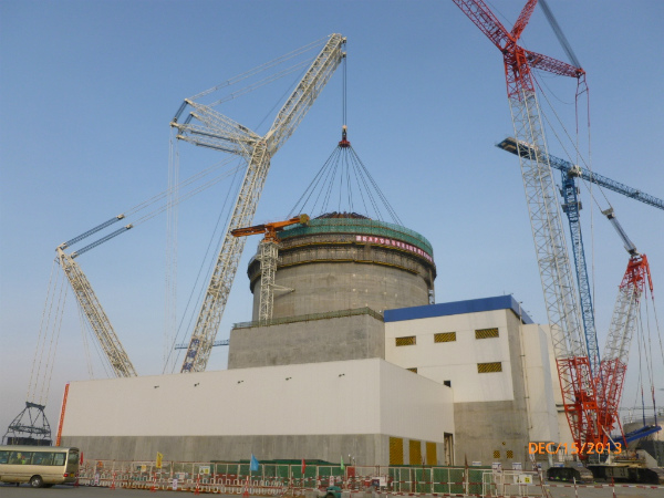 Westinghouse and its consortium team CB&I and China's SNPTC successfully set the shield building conical roof on Unit 1 of the Haiyang AP1000 on 15 December 2013.