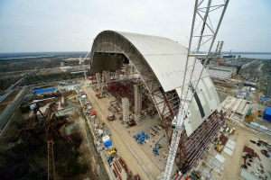 New Safe Confinement at Chernobyl. A recent photo of the arches from  construction consortium partner Bouygues.