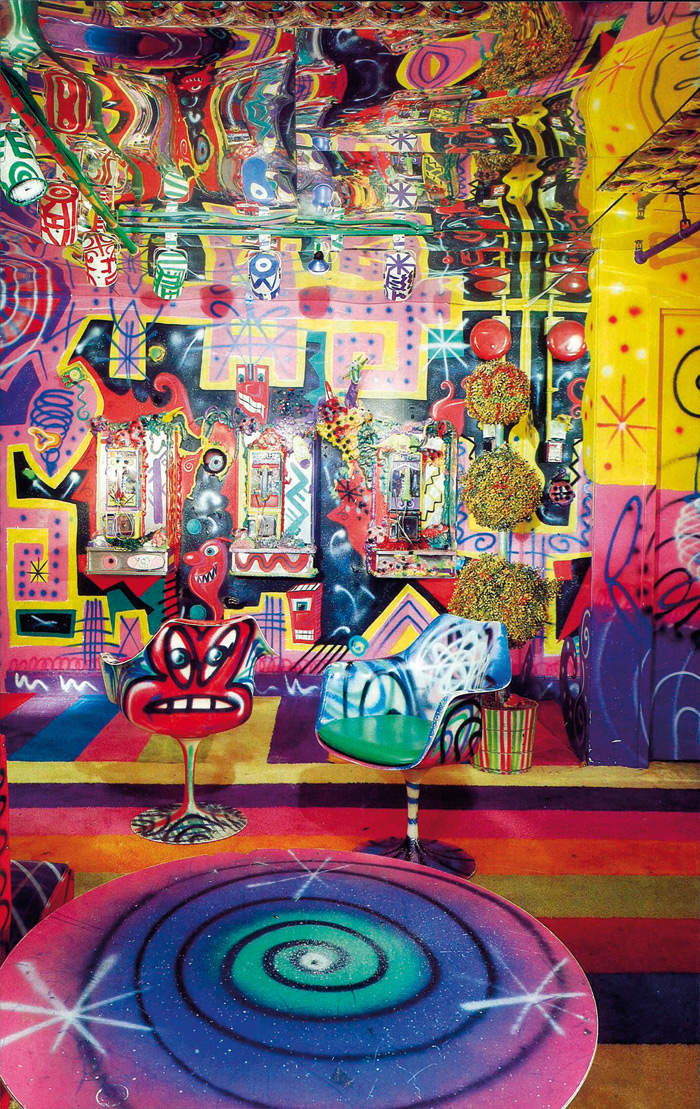 Pop surrealist artist Kenny Scharf created this playroom in the basement of Palladium. Photo Credit: ISC Archives