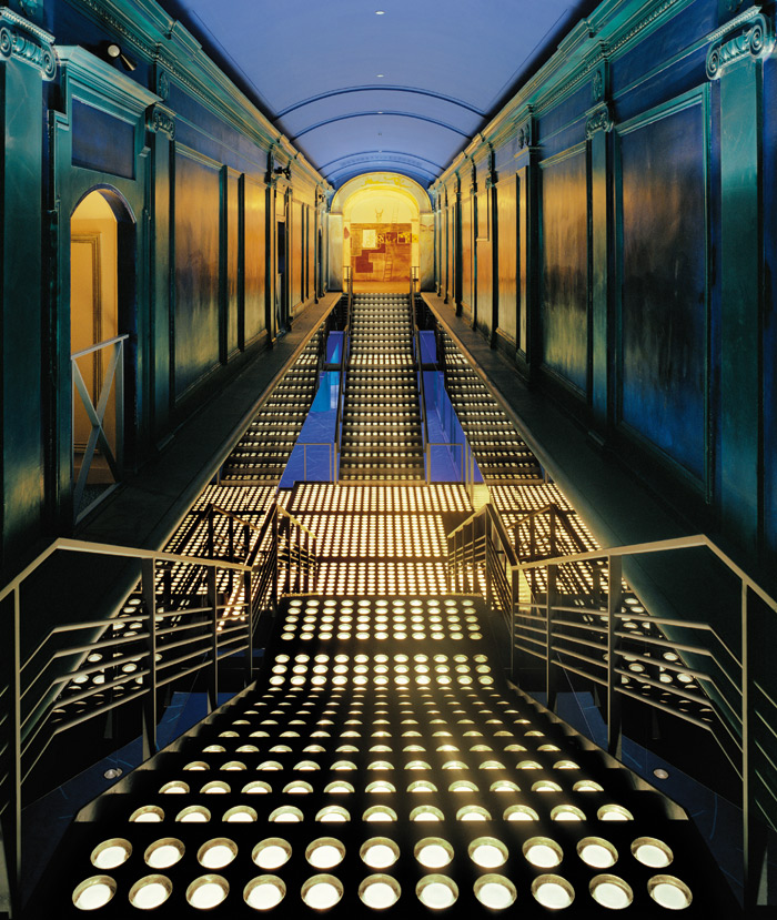 The Palladium entrance featured a Palladian staircase fitted with New York City sidewalk glass blocks. Photo Credit:Timothy Hursley