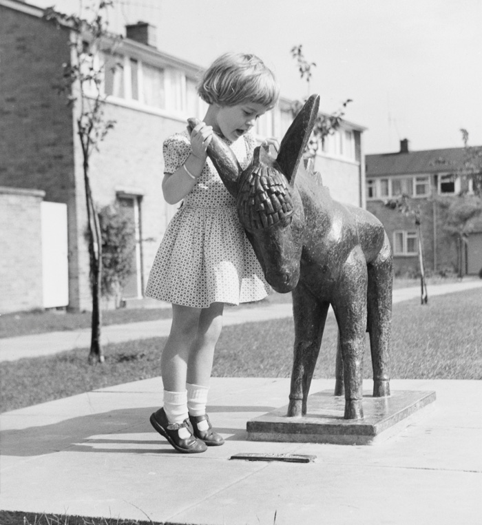 Girl in Harlow with Donkey by Willi Soukop (1955)