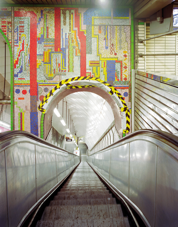 An Eduardo Paolozzi mural at Tottenham Court Road station, prior to Crossrail works, four fifths of which survived