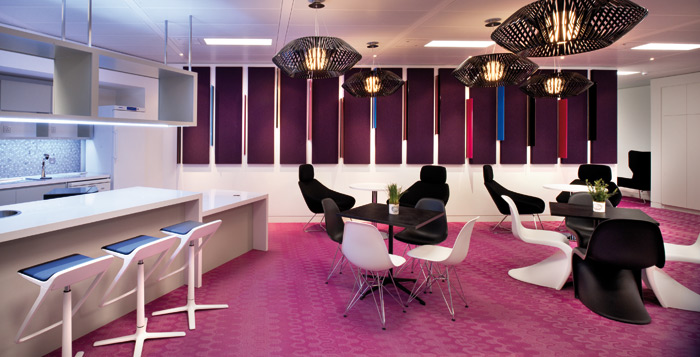 Lawyers are in the pink with Resonate Interiors' choice of a bright pink floor from Bolon by Missoni
