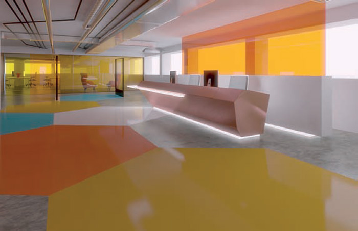 Coloured polished concrete adds an unusual vibe to this scheme for a pharmaceutical office in Russell Square, London