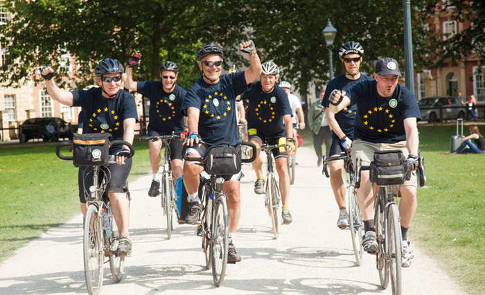 A team of cyclists from the EU Green Bikers group, led by the EU's Directorate General for the Environment Karl Falkenberg, arrive in Bristol after cycling the 630km from Brussels in celebration of the city's status as European Green Capital last year. Photo: Chris Bahn